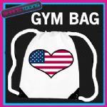 USA HEART FLAG HEART LOVE GYM DRAWSTRING WHITE GYMSAC BAG